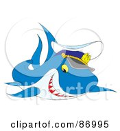 Royalty Free RF Clipart Illustration Of A Cute Captain Shark by Alex Bannykh