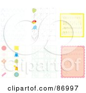 Royalty Free RF Clipart Illustration Of A Digital Collage Of Sketched Shapes Hearts And Twigs by Alex Bannykh