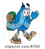 Water Drop Mascot Cartoon Character Hiking And Carrying A Backpack