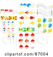 Royalty Free RF Clipart Illustration Of A Digital Collage Of Faces Balloons Fish Houses And Flags