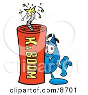 Water Drop Mascot Cartoon Character Standing With A Lit Stick Of Dynamite