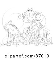 Royalty Free RF Clipart Illustration Of An Outlined Crab With An Anchor And Sunken Treasure