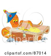 Royalty Free RF Clipart Illustration Of A Captain Octopus With Sunken Treasure by Alex Bannykh