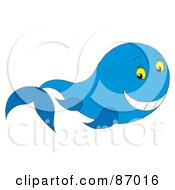 Royalty Free RF Clipart Illustration Of A Happy Blue Whale With Yellow Eyes