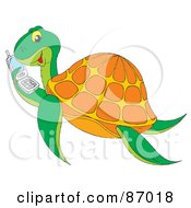 Royalty Free RF Clipart Illustration Of A Chatty Sea Turtle Holding A Cell Phone by Alex Bannykh