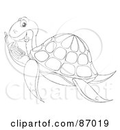 Outlined Sea Turtle Holding A Cell Phone