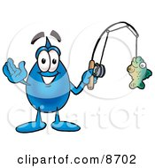 Clipart Picture Of A Water Drop Mascot Cartoon Character Holding A Fish On A Fishing Pole