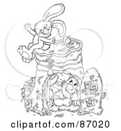 Royalty Free RF Clipart Illustration Of A Black And White Scene Of A Rabbit And Cat With A Pail