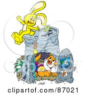 Royalty Free RF Clipart Illustration Of A Rabbit And Cat With A Pail