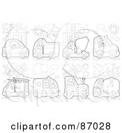 Royalty Free RF Clipart Illustration Of A Digital Collage Of Outlined Animals Driving Vehicles