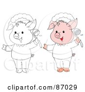 Royalty Free RF Clipart Illustration Of A Digital Collage Of Colored And Black And White Chef Pig by Alex Bannykh