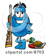 Water Drop Mascot Cartoon Character Duck Hunting Standing With A Rifle And Duck