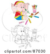 Royalty Free RF Clipart Illustration Of A Digital Collage Of Colored And Black And White Coloring Elephant by Alex Bannykh