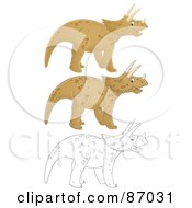 Royalty Free RF Clipart Illustration Of A Digital Collage Of Colored And Black And White Triceratops