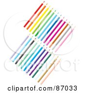Royalty Free RF Clipart Illustration Of A Digital Collage Of Two Sets Of Colored Pencils by Alex Bannykh