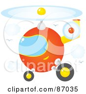 Royalty Free RF Clipart Illustration Of A Round Orange Helicopter In A Sky With Clouds And Gulls by Alex Bannykh