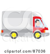Royalty Free RF Clipart Illustration Of A Happy Trucker Driving His Big Rig by Alex Bannykh