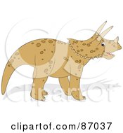 Royalty Free RF Clipart Illustration Of A Tan Triceratops In Profile by Alex Bannykh