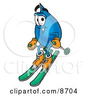 Clipart Picture Of A Water Drop Mascot Cartoon Character Skiing Downhill by Toons4Biz