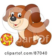 Royalty Free RF Clipart Illustration Of A Cute Brown Puppy Dog Playing With A Ball