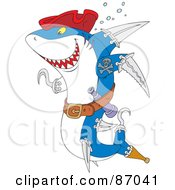 Royalty-Free (RF) Clipart Illustration of a Pirate Shark With Weapons And A Red Hat by Alex Bannykh #COLLC87041-0056
