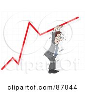 Royalty Free RF Clipart Illustration Of A Sweaty Businessman Hanging Onto A Graph Line