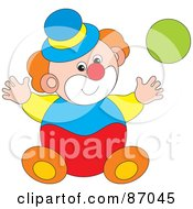 Royalty Free RF Clipart Illustration Of A Playful Circus Clown With A Green Ball by Alex Bannykh