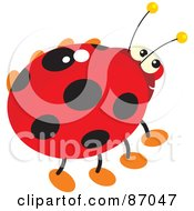 Royalty Free RF Clipart Illustration Of A Shiny Ladybug With Yellow Antennae by Alex Bannykh