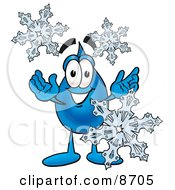 Clipart Picture Of A Water Drop Mascot Cartoon Character With Three Snowflakes In Winter by Toons4Biz