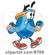 Clipart Picture Of A Water Drop Mascot Cartoon Character Speed Walking Or Jogging by Toons4Biz