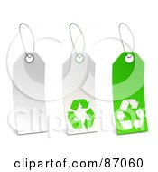 Royalty Free RF Clipart Illustration Of A Group Of White And Green Recycle Sales Tags Version 1