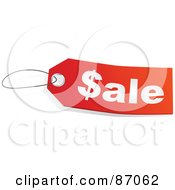Royalty Free RF Clipart Illustration Of A Red And White Sale Store Tag