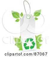 Royalty Free RF Clipart Illustration Of A Blank White Recycle Sales Tag With Leaves by Tonis Pan