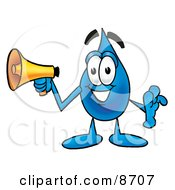 Water Drop Mascot Cartoon Character Holding A Megaphone