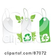 Royalty Free RF Clipart Illustration Of A Group Of White And Green Recycle Sales Tags Version 2