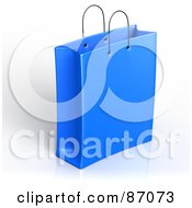 Royalty Free RF Clipart Illustration Of A Plain 3d Blue Shopping Or Gift Bag