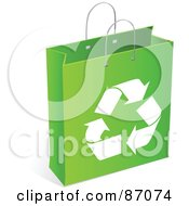 Royalty Free RF Clipart Illustration Of A Green And White Recycled Shopping Bag