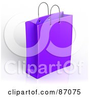 Royalty Free RF Clipart Illustration Of A Plain 3d Purple Shopping Or Gift Bag