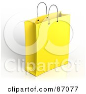 Royalty Free RF Clipart Illustration Of A Plain 3d Yellow Shopping Or Gift Bag