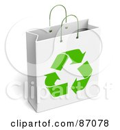 Royalty Free RF Clipart Illustration Of A White Recycled Gift Bag