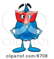 Clipart Picture Of A Water Drop Mascot Cartoon Character Wearing A Red Mask Over His Face by Toons4Biz