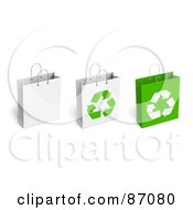 Royalty Free RF Clipart Illustration Of A Group Of Three Recycled Shopping Bags
