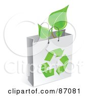 Royalty Free RF Clipart Illustration Of A Plant In A White Recycled Gift Bag