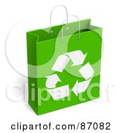 Royalty Free RF Clipart Illustration Of A Green And White Recycled Gift Bag