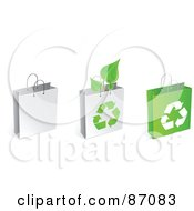 Royalty Free RF Clipart Illustration Of A Group Of Three Recycled Shopping And Gift Bags