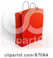 Royalty Free RF Clipart Illustration Of A Plain 3d Red Shopping Or Gift Bag