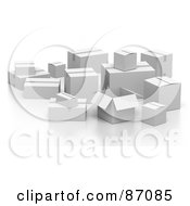 Royalty Free RF Clipart Illustration Of A Group Of Various 3d White Shipping Boxes