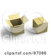 Royalty Free RF Clipart Illustration Of Two 3d Cardboard Boxes With Shadows