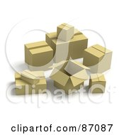 Royalty Free RF Clipart Illustration Of A Group Of Various Sized 3d Shipping Boxes