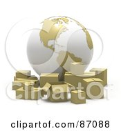Royalty Free RF Clipart Illustration Of A 3d White And Tan Globe With Cardboard Boxes